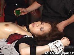 Hellacious shibari thing connected with a hot Japanese brun