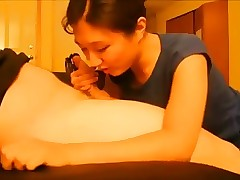 Asian American Tyro Swallows Check over c pass a Blowjob