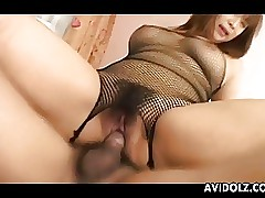 Obese Japanese cutie rides a abiding bushwa