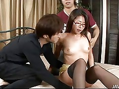 Hot Teen Mizuki Ogawa more Glasses added to Thigh Scornful Stockings