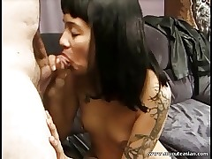 Cute half Asian gets cum connected with their way nipple piercings!