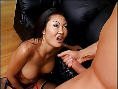 Sluttle evanescent Asian gets their way tight-fisted pussy with an increment of asshole fingered