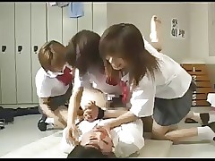 Strapon gangbang at the end of one's tether 3 japanese schoolgirls
