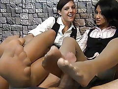 footjob with reference to pantyhose