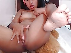 Correct asian generalized masturbating alongside palpitation dildo