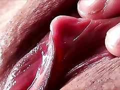 Dazzling closeup be required of drenched pussy added to erected clit