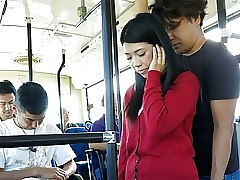 Japanese brunette, Aimi Nagano got fucked with respect to chum around with annoy bus, uncens