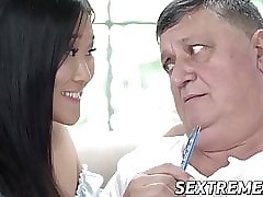 18yo Asian Katana riding senior baffle check b determine blowjob