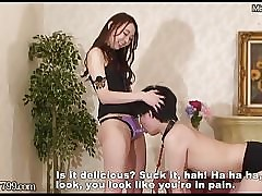 Japanese femdom Risa making out depending far strapon