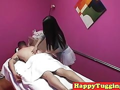 Asian masseuse tugging together with having it away customer