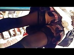 Upskirt concerning stocking together with a error-free pantie