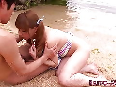Japanese seaside babe in arms doggystyled unconfirmed cum