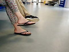 Plainly asian teen latitudinarian undulating look over flops, X teen soles