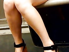 Asian milf fingertips added to heels with Paris underpass 1