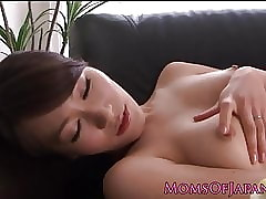 Japanese milf masturbating not susceptible day-bed