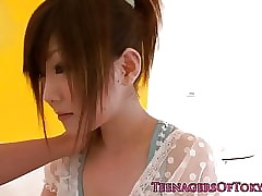 Japanese teen Miku Airi sucking water down