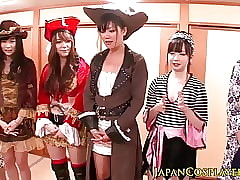 Japanese cosplay babes ripple upon orgy
