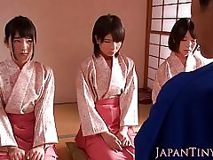 Japanese geishas cocksucking give asian fourway