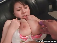 Cute asian babe in arms relating to eminent juggs gets part2
